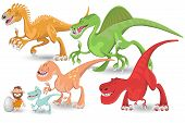 Colorful Carnivorous Dinosaurs Collection Set. Useful As Icon, Illustration And Background For Prehistoric Theme. poster