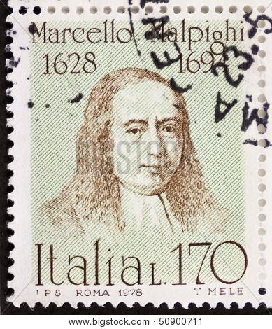 ITALY - CIRCA 1978: a stamp printed in Italy shows  portrait of  Marcello Malpigh (1628 �¢?? 1694), Italian doctor, anatomist and physiologist.  Italy, circa 1978