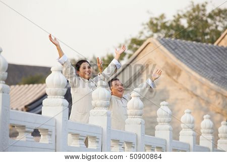 Two seniors practicing Taijiquan in Beijing, Arms outstretched