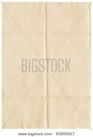 Old yellowing folded A4 paper isolated on white.