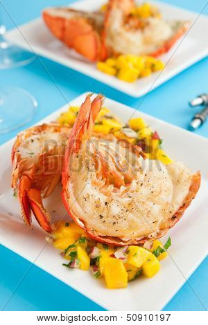 Lobster tails with mango salsa