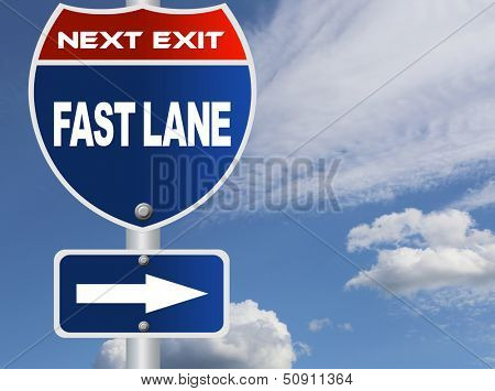 Fast lane road sign