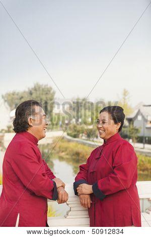 Two senior Taijiquan practitioners taking a break in Beijing