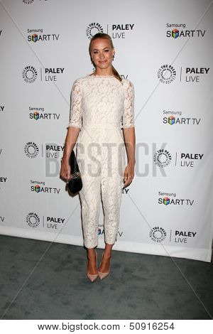 LOS ANGELES - SEP 12:  Yvonne Strahovski at the PaleyFest Fall Previews:  Fall Farwell-