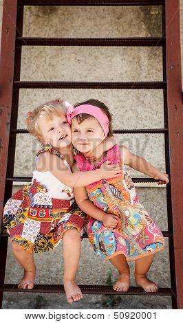 Two Little Girls Outside