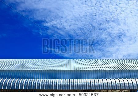 Metalic Facade, Roof Aluminium Factory On Blue Sky