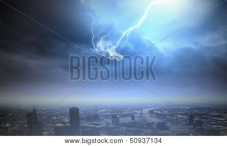 Background image with urban scenes and lightning
