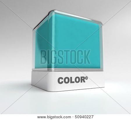 Design block in turquoise color