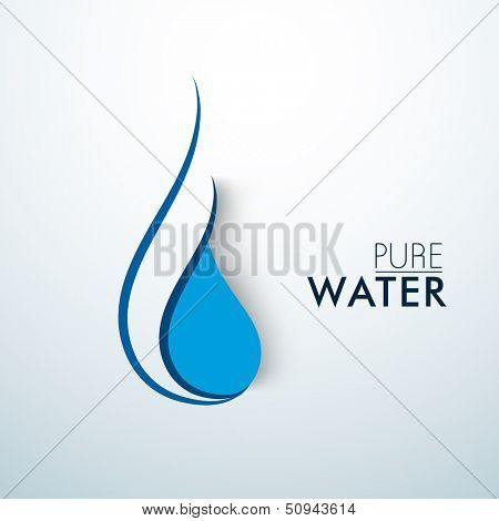 Stylish blue water drop icon with text Pure Water.