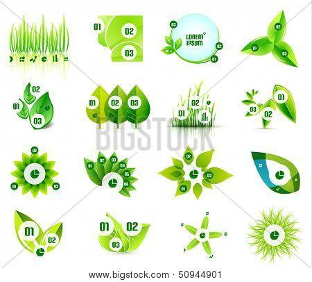 Set of eco leaf infographic design templates poster