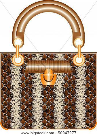 Female handbag. A luxury leather lady handbag on white background poster