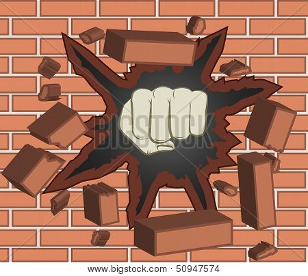 Fist breaking through red brick wall  - vector illustration poster