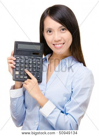 Asian woman press the calculator