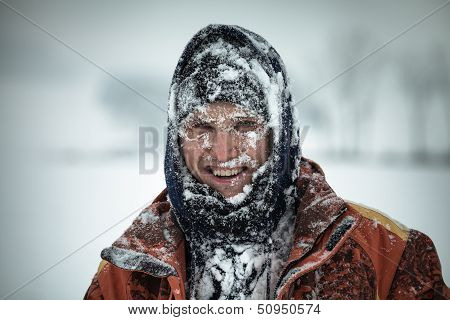 Happy Man In Snow