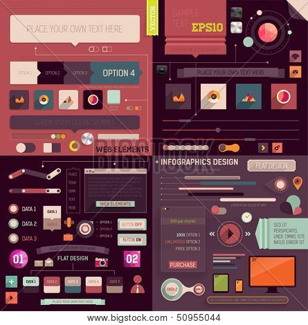 Flat Web Design and Infographics Elements set. Buttons, icons, frames, speech bubbles, diagrams, charts and business infographics vector elements. Modern design collection.