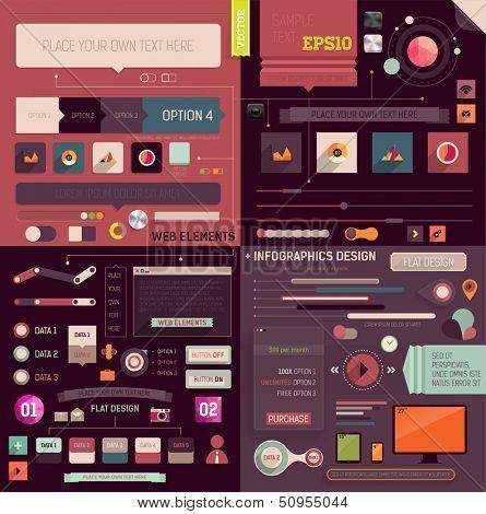 Plana Web Design e Infografia elementos definidos. Botões, ícones, molduras, balões de fala, diagramas, cha