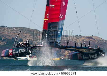 SAN FRANCISCO, CA - SEPTEMBER 12: Emirates Team New Zealand competes in the America's Cup sailing races in San Francisco, CA on September 12, 2013