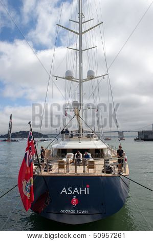 SAN FRANCISCO, CA - SEPTEMBER 12: Oracle CEO Larry Ellison's yacht Asahi anchored in San Francisco Bay during the America's Cup sailing races in San Francisco, CA on September 12, 2013