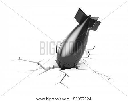 Fallen bomb broke ground