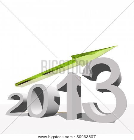 High resolution concept or conceptual 3D green 2013 year and arrow, metaphor to success,growth,graph,future,finance,financial,new year,holiday,increase,rise,date,forecast or progress.Also for december
