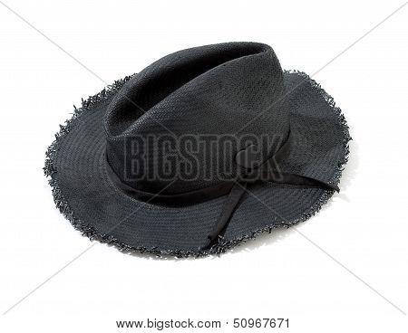Dark Grey Raffia Fringed Woven Hat With Hatband And Heart Brooch