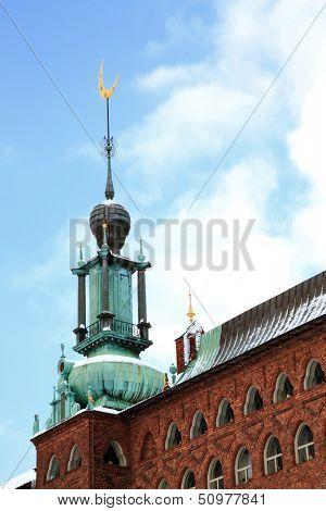 Moon Symbol Tower of Stockholm Cityhall Studhus Sweden