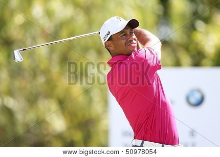 Sep 15, 2013; Lake Forest, IL, USA; Tiger Woods tees off the sixth hole during the third round of the BMW Championship at Conway Farms Golf Club.