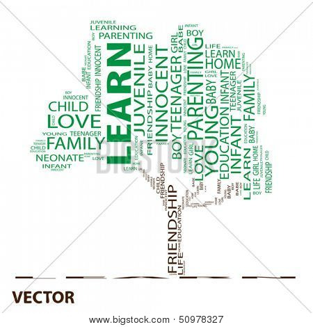 Vector eps concept or conceptual green text word cloud or tagcloud as a tree isolated on white background as a metaphor for child,family,education,life,home,love and school learn or achievement