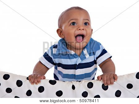 happy big smiling 7-month old african american baby boy portrait