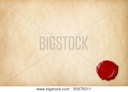 Old blank paper with wax seal