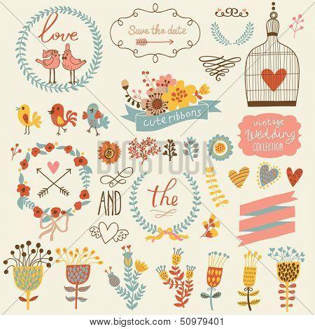 Boda colección romántica con etiquetas, cintas, corazones, flores, flechas, jaula de coronas de flores, pájaros, laur