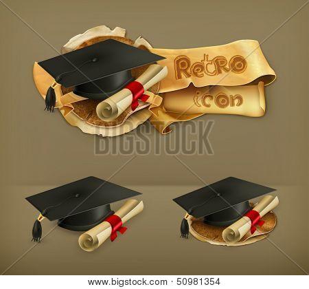 Graduation cap and diploma, vector icon