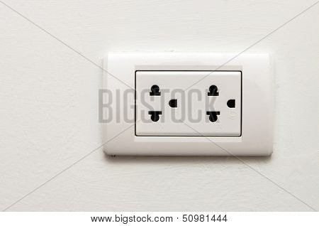 Electronic Socket On White Wall