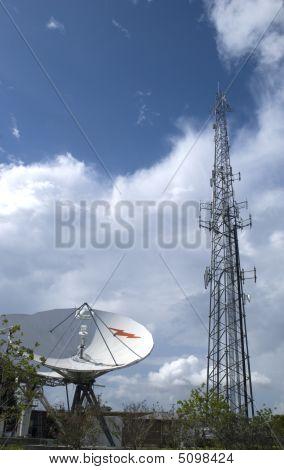 Satellite And Antenna Tower