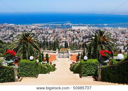 Bahai Gardens in Haifa Israel poster