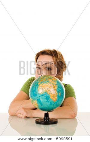 Woman Looking At Globe