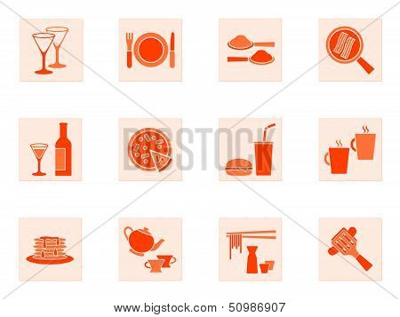 Collection of food and beverage icons