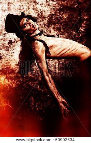 Gloomy vampire standing at the night background. Halloween. poster