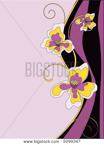 Vector Illustration Of Violet Flowers Background