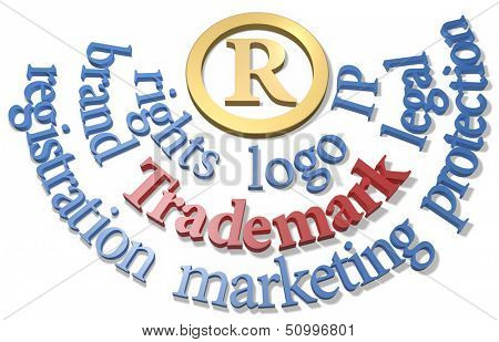 Intellectual property Trademark R symbol in gold circle with IP words