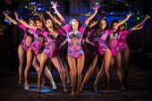 Nine beautiful showgirls in purple costumes with raised hands perform on stage poster