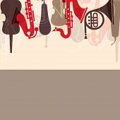 Musical concept with musical instruments,  can be use as poster, banner for flyer for music concerts and parties. poster