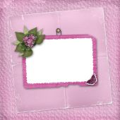 Pink abstract background with frame and floral beautiful bouquet poster