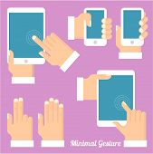 Tablets and gadgets with touch-screen display held in hand. Touch screen gestures icon set. poster