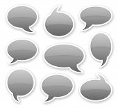 stickers of gray glossy rounded comics text bubbles with shadow poster