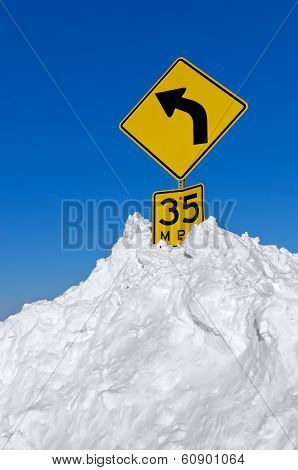 Road Sign in Snow