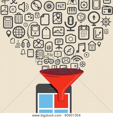 Icons flow to the modern digital tablet device