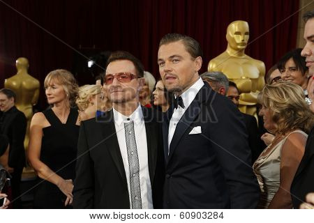 LOS ANGELES - MAR 2:: Bono, Leonardo DiCaprio  at the 86th Annual Academy Awards at Hollywood & Highland Center on March 2, 2014 in Los Angeles, California