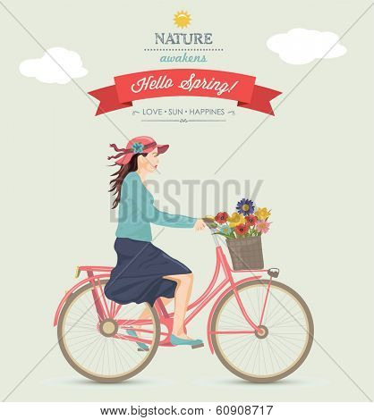 Spring Girl on Bike.