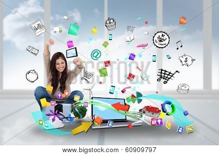 Digital composite of cheering girl using laptop with app icons poster
